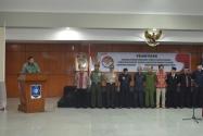 Ketua Bawaslu RI, Prof. DR. Muhammad memberikan sambutan pada kegiatan Pelantikan anggota Panitia Pengawas Pemilihan Kepala Daerah kabupaten Bangka Tengah, kabupaten Bangka Barat, kabupaten Bangka Selatan dan kabupaten Belitung Timur