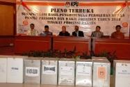 Rapat Pleno terbuka Rekapitulasi Hasil Penghitungan Suara Pemilu Presiden dan Wakil Presiden Tingkat Provinsi, di Serang, Provinsi Banten, Sabtu (17/7).