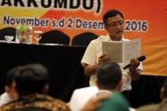 Salah satu pemateri dalam kegiatan Rakornas Penanganan Pelanggaran Pilkada Tahun 2017 di Yogyakarta, Sabtu (30 November s/d 2 desember 2016)